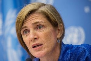 Samantha Power, U.S. ambassador to the U.N., holds a press conference in New York, September 3, 2014. Power's motorcade killed a Cameroonian boy during a visit to the West African country in April. ANDREW BURTON/GETTY IMAGES