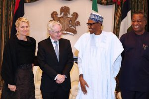 President Buhari with L-R: Regine Hess Deputy Head of Mission of Germany to Nigeria, H.E. Michael Zenner, the outgoing Ambassador and Minister of Foreign Affairs Geoffrey Onyeama as President Buhari receives in farewell audience, H.E. Michael Zenner, the outgoing Ambassador of the Federal Republic of Germany to Nigeria in Statehouse on 21st July 2016.Pic Credit Femi Adesina