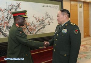File picture.Defense Minister Liang Guanglie (R) meets with Zambia Army Commander Lieutenant General Wisdom Lopa in Beijing, capital of China, April 2, 2011