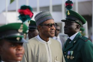 """Nigeria's President Muhammadu Buhari, pictured on June 19, 2016, has led an anti-corruption crackdown that has centred on an alleged $2.1 billion """"arms scam"""" (AFP Photo/Sunday Aghaeze)"""