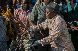 Tanzanian President John Magufuli joins a clean-up event outside the State House in Dar es Salaam on December 9, 2015. Magufuli cancelled Independence Day celebrations and ordered a national day of clean-up instead.  / AFP / DANIEL HAYDUKDANIEL HAYDUK/AFP/Getty Images