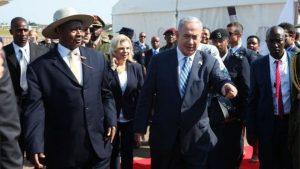 Mr Netanyahu was greeted by Ugandan President Yoweri Museveni at Entebbe airport