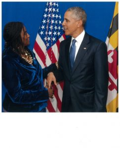 Ambassador Robin Renee Sanders, as CEO-FEEEDS. in discussion with President Obama during a recent dinner where the President Discussed his Agenda for 2016.