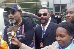 Renowned Congolese musician Koffi Olomide (left) on arrival at Jomo Kenyatta International Airport in Nairobi on Friday 22, 2016. Police arrested the rhumba star in his home town of Kinshasa on July 26, 2016. PHOTO | COURTESY