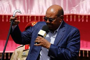 President Omar al-Bashir speaks during a meeting upon his arrival in El-Fasher, in North Darfur on April 1, 2016. The president of the International Criminal Court (ICC) is facing calls to resign after it emerged that she may have received financial rewards said to be in millions of dollars to ensure the indictment of al Bashir. PHOTO | AFP