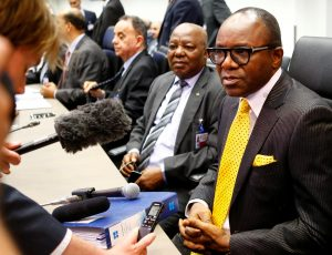 Nigeria's oil minister Emmanuel Ibe Kachikwu (R), pictured speaking to journalists at an OPEC meeting in Vienna, Austria, June 2, plays a key role in Nigeria's suffering oil industry. LEONHARD FOEGER/REUTERS