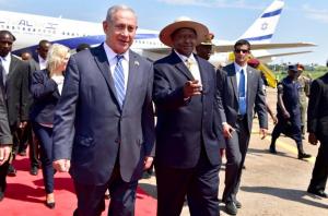 Israel's Prime Minister Benjamin Netanyahu with Uganda's President Yoweri Museveni.