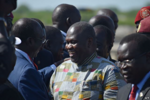 FILE - Rebel leader Riek Machar (C) meets with his supporters after landing at Juba international airport on April 26, 2016