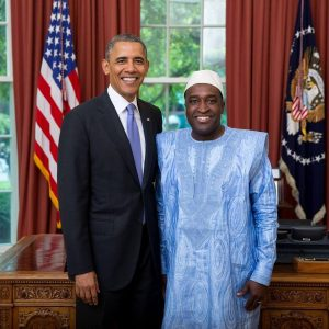 Ambassador Arouna with President Obama, Arouna worked hard to improved the frail relations between Cotonou and Washington