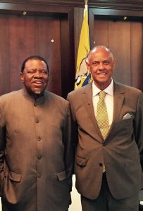 CFA President Melvin Foote with the President Hage G. Geingob, at the State House in Windhoek, Namibia .