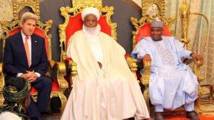 L-R: US Secretary of State John Kerry, Sultan of Sokoto, Muhammad Sa'ad Abubakar, and Governor Aminu Waziri Tambuwal during Kerry's visit to the Sultan's Palace in Sokoto...23/08/16