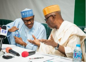 Muhammadu Buhari (L) and John Odie-Oyegun