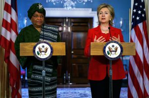 "File Picture.U.S. Secretary of State Hillary Rodham Clinton (R) speaks as Liberian President Ellen Johnson Sirleaf (L) listens during a joint press availability at the Department of State April 21, 2009 in Washington, DC. Sirleaf was on book tour for her memoir ""This Child Will Be Great: Memoir of a Remarkable Life"" in the United States"