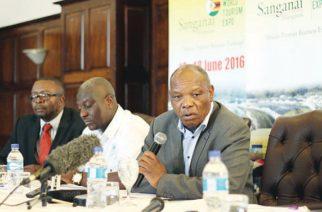 Zimbabwe Tourism Authority Chief Executive Officer Karikoga Kaseke addresses journalists  at a  Press conference