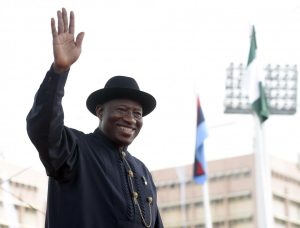 Former Nigerian President Goodluck Jonathan waves as he leaves office following his successor's inauguration in Abuja, May 29, 2015. Jonathan has rejected claims that he is sponsoring militants in the Niger Delta. PIUS UTOMI EKPEI/AFP/GETTY IMAGES