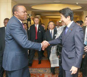 Prime Minister Shinzo Abe and Kenyan President Uhuru Kenyatta