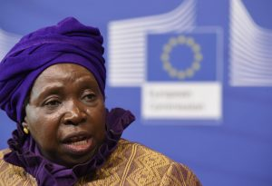 AU Commission chairperson Nkosazana Dlamini-Zuma at a press conference with the EC's president, Brussels, Belgium, April 22, 2015. Dlamini-Zuma has slammed the ANC for its poor performance in South Africa's local elections. JOHN THYS/AFP/GETTY IMAGES