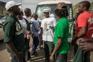 Supporters of President Edgar Lungu gather in Zambia's capital, Lusaka, a few days before the Aug. 11 election. (Gianluigi Guercia/AFP/Getty Images)