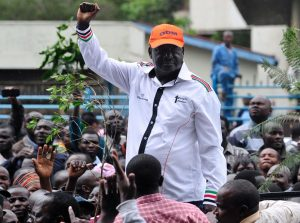 Odinga joins a rally outside the headquarters of the offices of the country's electoral commission, Nairobi, April 25. Odinga says that the replacement of the electoral commission is crucial for fair elections in 2017. KEVIN MIDIGO/AFP/GETTY IMAGES