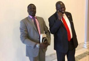 Reath Muoch Tang, the SPLM/SPLA-IO Representative to Washington, receiving Dr. Riek Machar Teny during his visit to the United States(Photo: file)