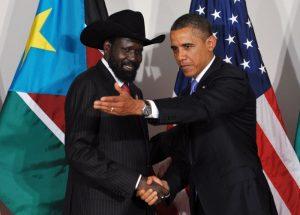 South Sudan President Salva Kiir with U.S President Barack Obama