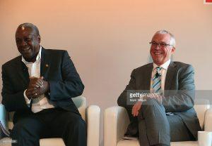 President of Ghana, H.E. John Dramani Mahama (L) and Jay Ireland, President of GE