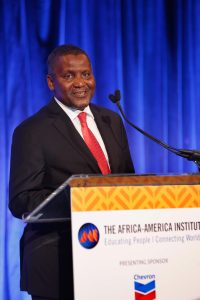 NEW YORK, NY - SEPTEMBER 20:  Aliko Dangote speaks on stage at the Africa-America Institute's 2016 Annual Awards Gala at Cipriani 25 Broadway on September 20, 2016 in New York City.  (Photo by Thos Robinson/Getty Images for Africa-America Institute)