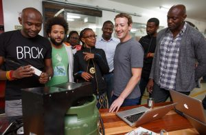 Eric Thimba and Porgie Gachui, co-founders of Mookh; Wandia Gichuru, CEO, and Makena Mutwiri, Head of Marketing of Vivo Active Wear; Mark Zuckerberg, Ime Archibong, Emeka Afigbo of Facebook; Edna Kwinga, Human Resource Officer, and Marie Amuti, UX designer of Twiga Foods