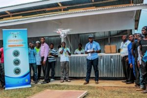 A photo taken on July 24, 2016 shows a demonstration of a drone flying and landing by a private entrepreneur during an international trade fair in Kigali. Rwanda is planning to construct a droneport in order to get drones to carry mostly medical urgent supplies from a central hub to rural areas around the country. Credit: CYRIL NDEGEYA, AFP, Getty Images