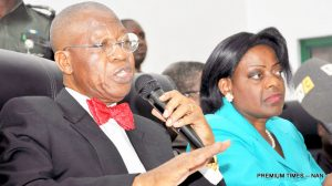 FILE PHOTO: Minister of Information and Culture, Alhaji Lai Mohammed (L) and Permanent Secretary, Mrs Ayo Adesugba, at a News Conference in Abuja