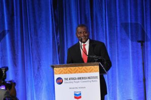 Nigerian businessman Aliko Dangote speaks at the Africa-America Institute's 2016 awards gala in New York City on September 20. Dangote has reaffirmed his desire to buy English football club Arsenal. BENNETT RAGLIN/GETTY IMAGES FOR AFRICA-AMERICA INSTITUTE