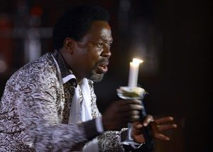 Nigerian pastor T.B. Joshua speaks during a New Year's memorial service for the South African relatives of those killed in a building collapse at his Lagos megachurch. Source Pius Utomi Ekpei/Getty