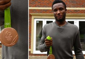 John Obi Mikel shows off his Olympic Bronze Medal