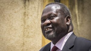 FILE - Riek Machar, South Sudan's exiled former first vice president