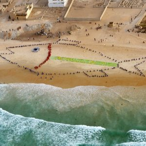 "An aerial picture taken on January 19, 2012 shows 400 students gathering to form a giant fish on the beach of Yoff Diamalaye in Dakar to draw Senegalese presidential candidate's attention to the problems of the fisheries sector in Senegal during a rally called by global environmental Greenpeace and fishermen organizations for a ""responsible and sustainable fisheries"" at the end of a campaign to collect signatures throughout the country. The operation ""My voice, my future,"" has collected over 6,000 signatures - against 3,000 originally planned - in the fishing communities in the large fishing zones of the country, said Raoul Monsembula, an official of Greenpeace-Africa based in Dakar, during a press conference.  AFP PHOTO / SEYLLOU (Photo credit should read SEYLLOU/AFP/Getty Images)"