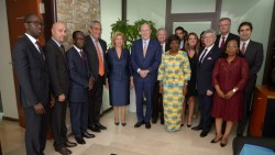 Meeting with the First Lady of Côte d'Ivoire, Dominique Claudine Ouattara and H.E. Minister of Health and Public Hygiene, Dr. Raymonde Goudou Coffie by the Merck delegation led by Dr. Frank Stangenberg-Haverkamp, Chairman of the Executive Board and the Family Board of E. Merck KG