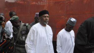 FILE - Nigeria's former national security adviser, Sambo Dasuki (C), arrives for a hearing at the Federal High Court in Abuja, Nigeria, Dec. 14, 2015.