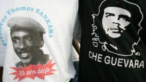 T-shirts seen in Ouagadougou in 2007 showing (L) former Burkinabe President Thomas Sankara and Marxist revolutionary Che Guevara (R)Image copyrightAFP Image caption Mr Sankara's supporters compare him to Marxist revolutionary Che Guevara