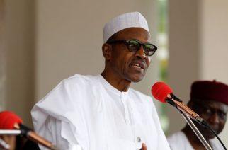 FILE - Nigerian President Muhammadu Buhari speaks at the presidential villa in Abuja, Nigeria, May 14, 2016.