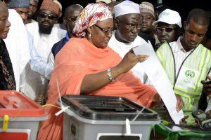 Aisha Buhari, wife of Nigerian president Muhammadu Buhari, votes in the 2015 election in Daura, Katsina state, Nigeria, March 28, 2015. The first lady has said she is fully behind her husband. PIUS UTOMI EKPEI/AFP/GETTY