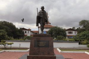 The statue of Indian independence leader Mohandas Gandhi in Accra, Ghana. Christian Thompson/AP