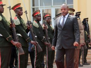 Burundi's President Pierre Nkurunziza walks during a ceremony in tribute to the former late President Colonel Jean-Baptiste Bagaza at the national congress palace in Bujumbura, Burundi Thomson Reuters