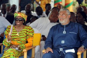 Former Ghanaian First Lady Nana Konadu Agyeman-Rawlings (L) is pictured with her husband, ex-president Jerry Rawlings, at a ceremony in Takoradi, western Ghana on December 15, 2010. Agyeman-Rawlings has been disqualified, along with 12 others, from running in December's presidential elections. PIUS UTOMI EKPEI/AFP/GETTY IMAGES