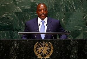 Joseph Kabila Kabange, President of the Democratic Republic of the Congo, addresses the 69th United Nations General Assembly at the U.N. headquarters in New York September 25, 2014. REUTERS/Lucas Jackson/File Photo - RTSEYG1