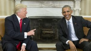 President elect Trump with President Obama at a press appearance after post election meeting
