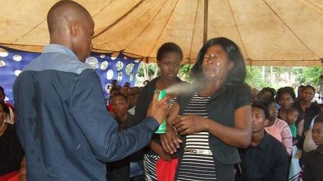 MOUNTZION GENERAL ASSEMBLY Image caption Many were shocked by the revelation that a South African pastor used insecticide in a healing ritual