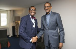 Rwandan President Paul Kagame with AFDB President Adesina