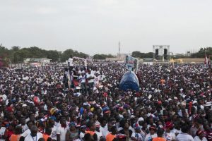 Supporters of Ghana's opposition leader Nana Akufo-Addo gather during a rally, Accra, October 30. Akufo-Addo is promising more jobs if he is elected president in Ghana in December. CRISTINA ALDEHUELA/AFP/GETTY