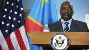 WASHINGTON, DC - AUGUST 04:  President of the Democratic Republic of Congo Joseph Kabila listens to remarks before a bilateral meeting with U.S. Secretary of State John Kerry during the U.S.-Africa Leaders Summit at the Department of State August 4, 2014 in Washington, DC.   (Photo by Alex Wong/Getty Images)
