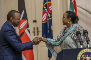 President Uhuru Kenyatta and Foreign Affairs CS Amina Mohammed